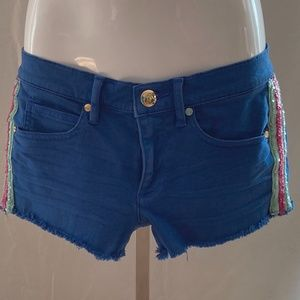 Juicy Jean Couture Royal Blue Shorts Side Sequins